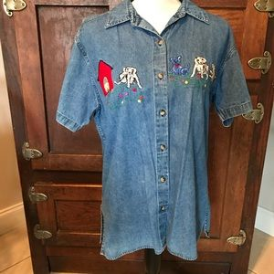 ~Blue~ Denim Embroidered Top Dogs